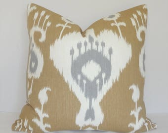 Beige Grey Ivory Ikat Print Pillow Cover Home Decor by HomeLiving Throw Pillow Cover Size 18x18