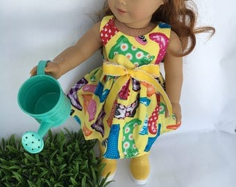 18inch Wellie boots dress, boots and watering can combination , made to fit 18 inch dolls such as American Girl dolls and similar size dolls