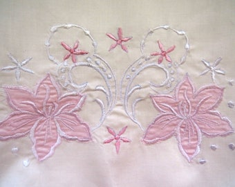 pair pink embroidered appliqued pillowcases vintage standard pillow slips vintage bedding sheets shabby chic
