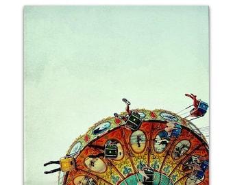 carnival photography, nursery art print, retro photography, carnival swings, aqua, orange, yellow - Flight I, 20x20 photograph art