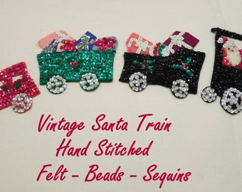 Vintage CHRISTMAS Beaded Sequin Felt SANTA'S Train, 4 Piece Vtg Sequin Beaded Christmas Train, Vtg Hand Stitched Christmas Decor, Christmas.