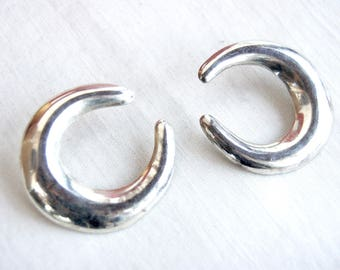 Large Mexican Hoop Earrings Sterling Silver Hoops Vintage Modernist Post Hoops Taxco Mexico Crescents