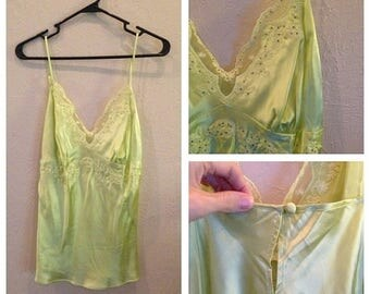 HUGE SALE Vintage 90s Lime Lace Satin Slip Top / M L