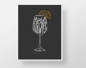 Cocktail Bar Print - Spritz bartender print wall decor art modern kitchen retro liquor cocktail prosecco soda mixed drink quote sign poster