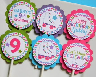 Roller Skating Birthday Party Personalized Cupcake Topper, Roller Skate Party Decorations, Party Supplies, Custom Cupcake Toppers, Set of 12
