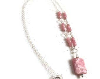 Pink Necklace - Rhodochrosite Gemstone Jewellery - Sterling Silver Jewelry - Fashion - Chain - Pendant