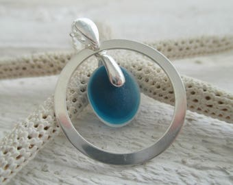 Blue Sea Glass Sterling Silver Circle Necklace
