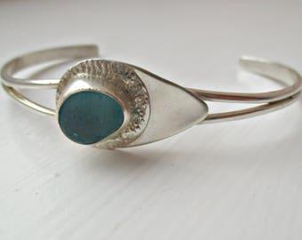 Sea Glass Sterling Silver Bangle Cuff Bracelet