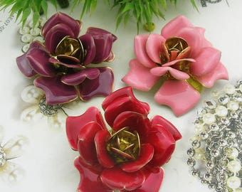 2 pcs(42mm) Raw Brass Finding Resin Glossy, Rose,(1705)