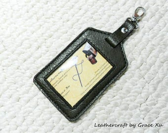 100% hand stitched handmade olive green cowhide leather ID holder