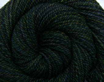 Handspun Yarn Worsted weight - ENCHANTED FOREST - Handpainted Shetland wool, 200 yds, gift for knitter, crochet yarn, gift for weaver