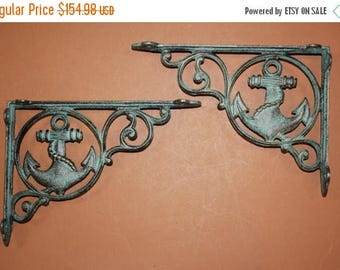"12% OFF 13) Antique-look Nautical Home Decor, Anchor shelf brackets, Anchor corbels, cast iron Anchors, bronze-look,9"", Free Shipping, B-39"