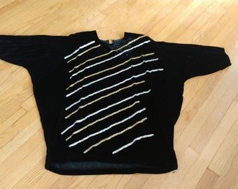 1980s batwing black velvet mini dress
