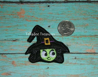 Witch Head Feltie with Hat - Small black felt - Great for Hair Bows, Reels, Clips and Crafts