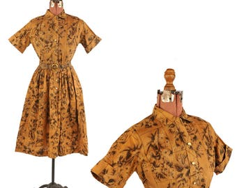 Vintage 1950's Cotton Blend Brown + Black Abstract Art Novelty Print Shirtwaist Dress S