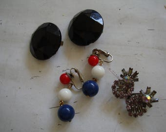 Lot of 3 clip on ears   ONE PRICE for the group ,  please See description for details