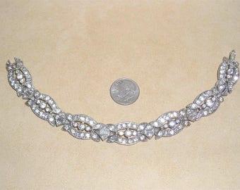Vintage Art Deco Pot Metal Rhinestone Baguette Bracelet 1920's Jewelry 11217