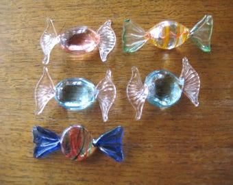 5 Hand Blown Art Glass Candy