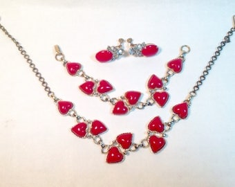 Red Puffy Thermoset Hearts Vintage Necklace, Bracelet and  Near Match Earrings