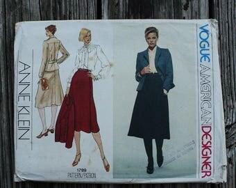 25%off Sizzlin Summer Sal Vogue American Designer Anne Klein 1789 1970s 70s Jacket Midi Skirt Suit Blouse Vintage Sewing Pattern Size 10 Bus