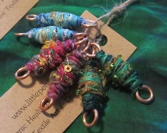 Set Of Six Artisan Beads OOAK Rustic Handmade Jewelry Fiber Art Sari Jewellery Craft Supplies Wrap Textile Copper Fabric Earrings Wires