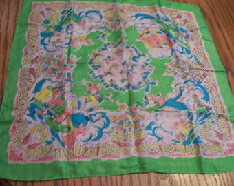 """Vintage Ladies or Childs  Scarf FREE SHIPPING Hand Rolled Edge Nursery Rhymes Pattern Circa 1960s 21"""" Square Silk Scarf"""
