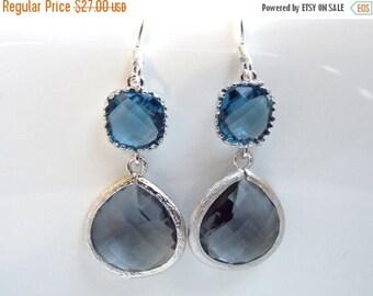 SALE Gray Earrings, Blue Earrings, Grey Earrings, Charcoal, Deep Blue, Wedding, Bridesmaid Earrings, Bridal Earrings Jewelry, Bridesmaid Gif