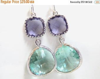 SALE Aqua Earrings, Soft Green Earrings, Light Green, Purple, Amethyst, Silver, Wedding, Bridesmaid Earrings, Bridal Jewelry, Bridesmaid Gif