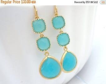 SALE Aqua Blue Earrings, Mint Earrings, Aquamarine, Long Gold Earrings, Bridesmaid Jewelry, Bridesmaid Earrings, Bridal Jewelry, Bridesmaid