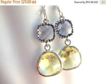 SALE Glass Earrings, Yellow Earrings, Purple Earrings, Citrine Earrings, Wedding, Bridesmaid Earrings, Bridal Earrings Jewelry, Bridesmaid G
