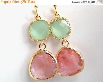 SALE Glass Earrings, Green Earrings, Gold Earrings, Coral, Peach, Mint Green, Bridesmaid Earrings, Bridal Earrings Jewelry, Bridesmaid Gifts