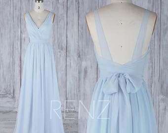 2017 Light Blue Chiffon Bridesmaid Dress With Belt, Double Straps Wedding Dress Slightly Empire,Ruched V Neck Prom Dress Floor Length (H506)
