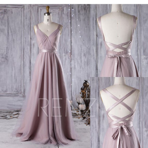 Mauve Bridesmaid Dress Convertible Strapsa Line Wedding