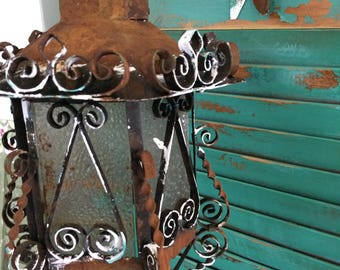 Antique Spanish/French wrought iron lantern
