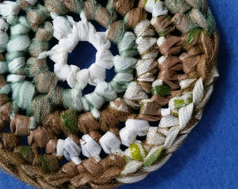 Green, Tan and White Plarn Dish Scrubby, recycled plastic bags, upcycled eco-friendly dish scrubber pot scrubber