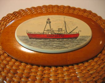 Barlow NANTUCKET LIGHTSHIP BASKET with ship portrait of the Nantucket Lightship!  Full size! Vintage heirloom.
