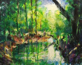 """Original Acrylic Expressionist Painting """"Pool in the Woods, Summer"""" 11x14"""
