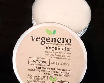 VegeButter Body Butter Cream Vegan Natural | non-greasy, fast absorbing- floral lily scent | Shea Butter Moisturizer Body Lotion Moisturiser