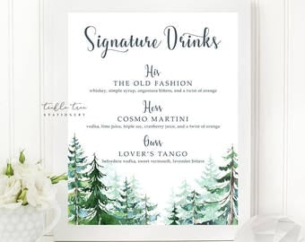 Printable Signature Drinks Sign - Rustic Forest