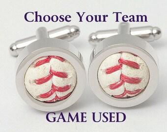 Game Used Baseball Cufflinks - Choose your favorite team! AL