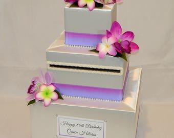 Hawaiian , Luau, Tropical themed Wedding Card Box/Card Holder -any Color