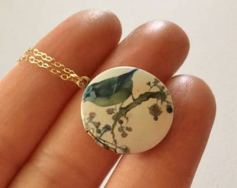 Bird Locket Necklace in Gold -Gold Bird Necklace - Bluebird Locket Necklace in Gold