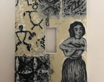 Hula Girl And Petroglyph Single Light Switch Plate