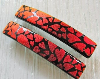 "Medium 3-1/2"" Dichroic Fused Glass Barrette, Red and Black Ponytail Barrette, Burgundy Hearts Glass Hair Clip, Gift For Her Under 30 Dollars"