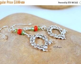CIJ SALE Christmas Earrings, Wreath Charms, Beaded Dangle Pierced Earrings. Silver, Red and Green. CKDesigns.us
