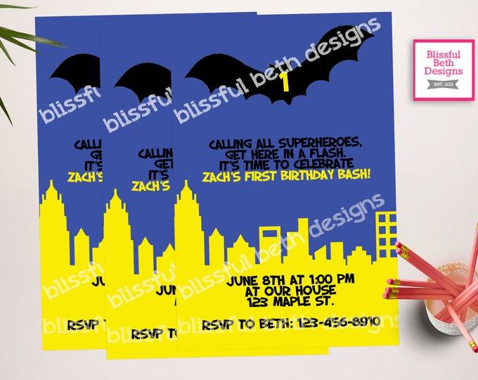 BATMAN BIRTHDAY INVITATION, Personalized Blue Batman Birthday Invitation, Blue Batman, Batman Birthday, Bat Birthday, Batman, Gotham