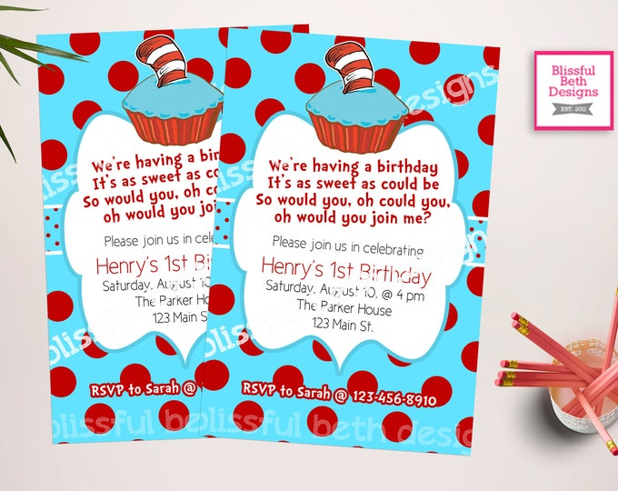 DR SEUSS BIRTHDAY, Dr. Seuss Polka Dotted Red and Aqua Printable Birthday Invitation, Seuss Polka Dot Invitation, Dr. Seuss Birthday