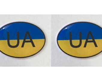 "Ukraine UA Domed Gel (2x) Stickers 0.8"" x 1.2"" for Laptop Tablet Book Fridge Guitar Motorcycle Helmet ToolBox Door PC Smartphone"