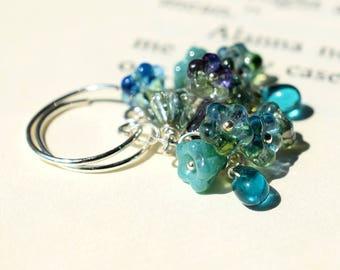 Blue Green Glass Earrings, Teal Flower Earrings, Silver Earrings Wire Wrapped Czech Glass Earrings Turquoise Glass Flower Open Hoop Earrings