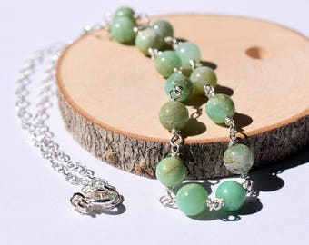 Chrysoprase Necklace, Soft Green Stone Necklace, Sterling Silver Wire Wrapped Necklace, Bead Chain Necklace, Blue Green Necklace Turquoise